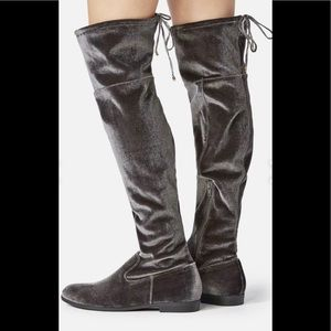 JustFab Over the Knee Boots Grey Size 7 NWT
